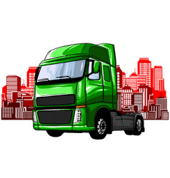 truck driving on road cargo transportation vector image