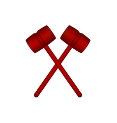 Two crossed wooden mallets in red design vector