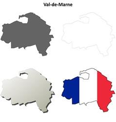 Val-de-Marne Ile-de-France outline map set vector