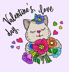 valentines day love inscription and cat vector image