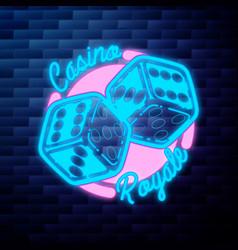 vintage casino emblem glowing neon vector image