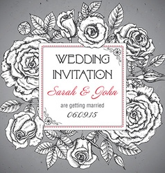 Vintage elegant wedding invitation with graphic vector