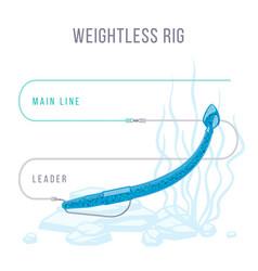 Weightless rigged soft plastic bait setup vector