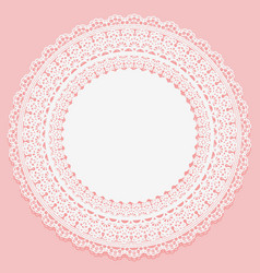 white lace serviette on a pink background vector image