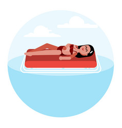 woman on inflatable mattress vector image