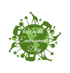 World Environment Day planet earth with animals vector