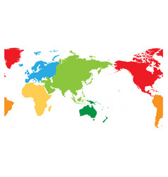 world map divided into six continents asia and vector image