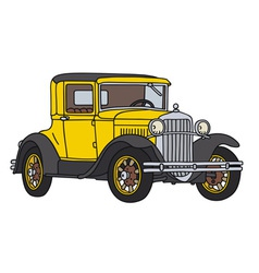Yellow vintage car vector