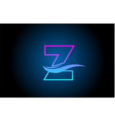 Z blue and pink alphabet letter logo icon for vector