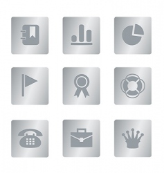 04 silver square office icons vector image vector image