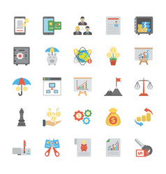 collection of finance management flat icons vector image
