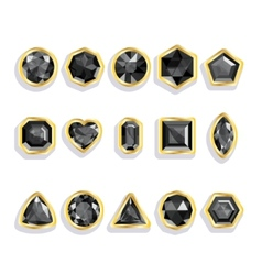 Colorful gems - black Set realistic gemstones vector image