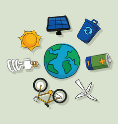 energy alternative icons solar panel wind vector image