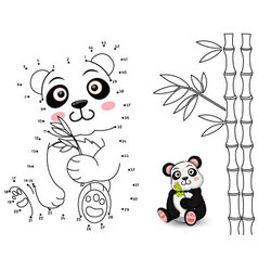Panda Connect the dots and color vector image