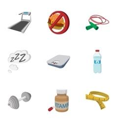 Correct way of life icons set cartoon style vector image vector image