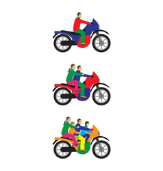 People family on a motorbike vector