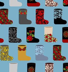 Russian traditional winter shoes seamless pattern vector image vector image