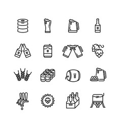 beer alcohol drinks line icons vector image