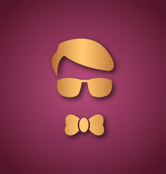 Boy with sun glasses over pink vector image vector image