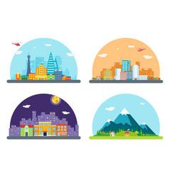 city street landscape real estate skyscrapers vector image vector image