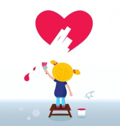 kid painting heart on wall vector image