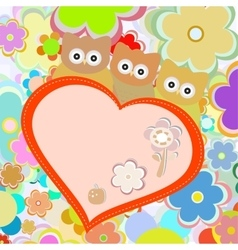 owls in flowers with big heart greetings vector image vector image