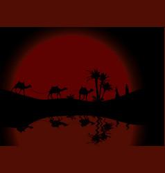 Reflection in water silhouette of caravan mit vector
