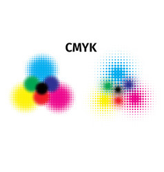 rgb and cmyk halftone color vector image