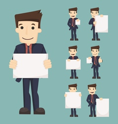 Set of businessman holding blank notes characters vector image vector image