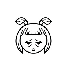 Thin line tired face icon vector