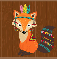 tribal fox on wooden background vector image vector image