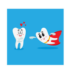 two funny tooth characters one as superhero vector image vector image