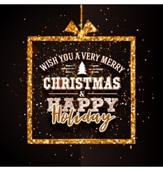 Xtmas and Happy Holiday golden banner vector image vector image