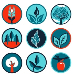 emblems and signs with leaves and trees vector image