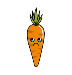 Kawaii cute cry carrot vegetable vector