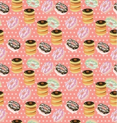 Seamless background with a pattern of donuts vector image vector image