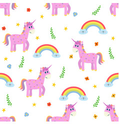 seamless pattern with cute pink unicorn and vector image vector image