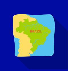 Territory of brazil icon in flate style isolated vector