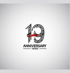 19 years anniversary logotype flat design vector