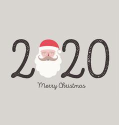 2020 christmas greeting card with santa claus vector image