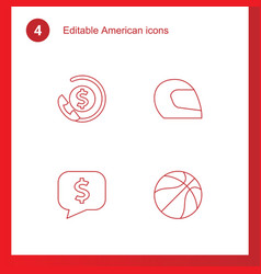 4 american icons vector