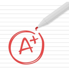 A plus grade on line paper with red pen vector image