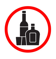 alcohol bottles black silhouette sign isolated vector image