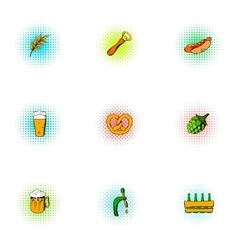 Alcohol icons set pop-art style vector