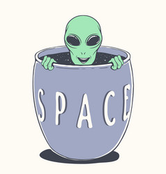 Alien peeps out from bowl space vector