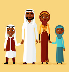 arab family arabic parents two children vector image