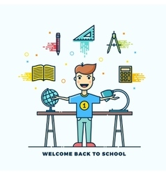 Back to School Line Style Flat vector image