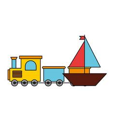 boat train kid toys vector image