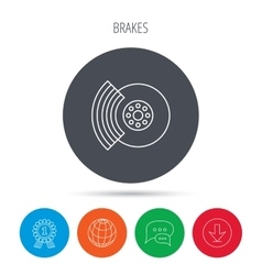 Brakes icon Auto disk repair sign vector image
