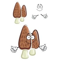 Brown morel mushroom cartoon character vector
